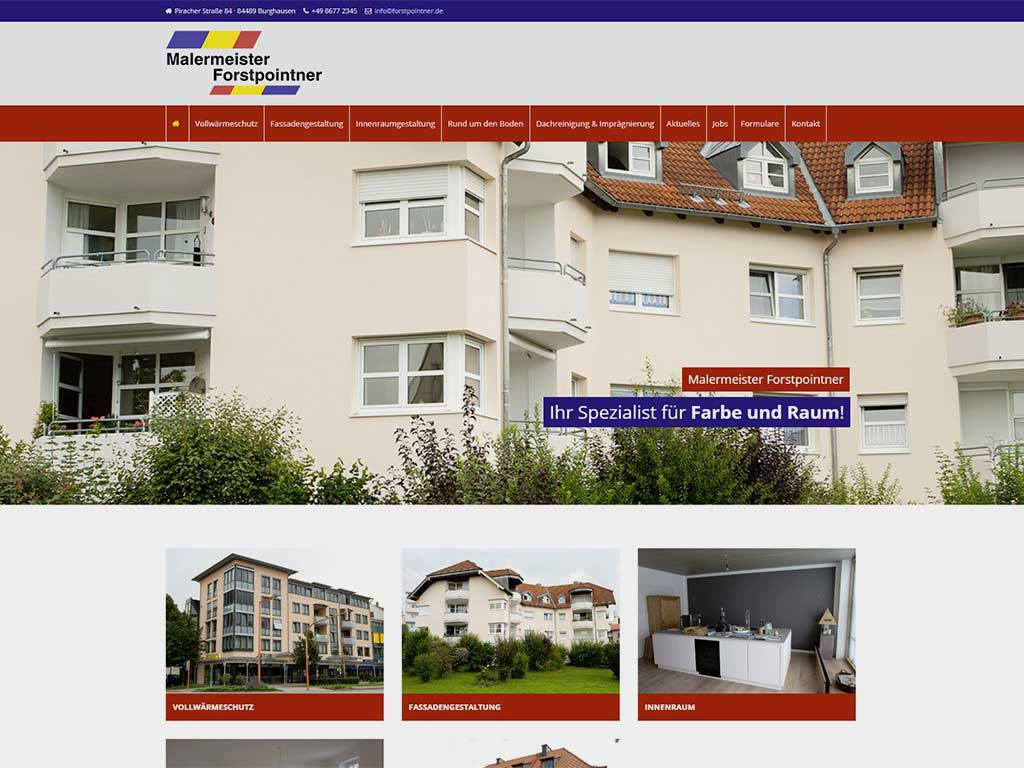 Neue Webseite Maler Forstpointner